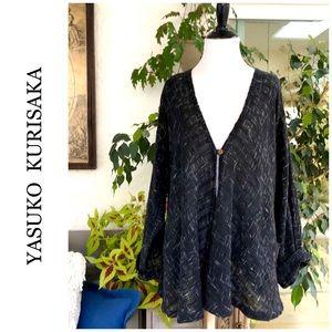 Yasuko Kurisaka Lagenlook Hand Woven Cardigan